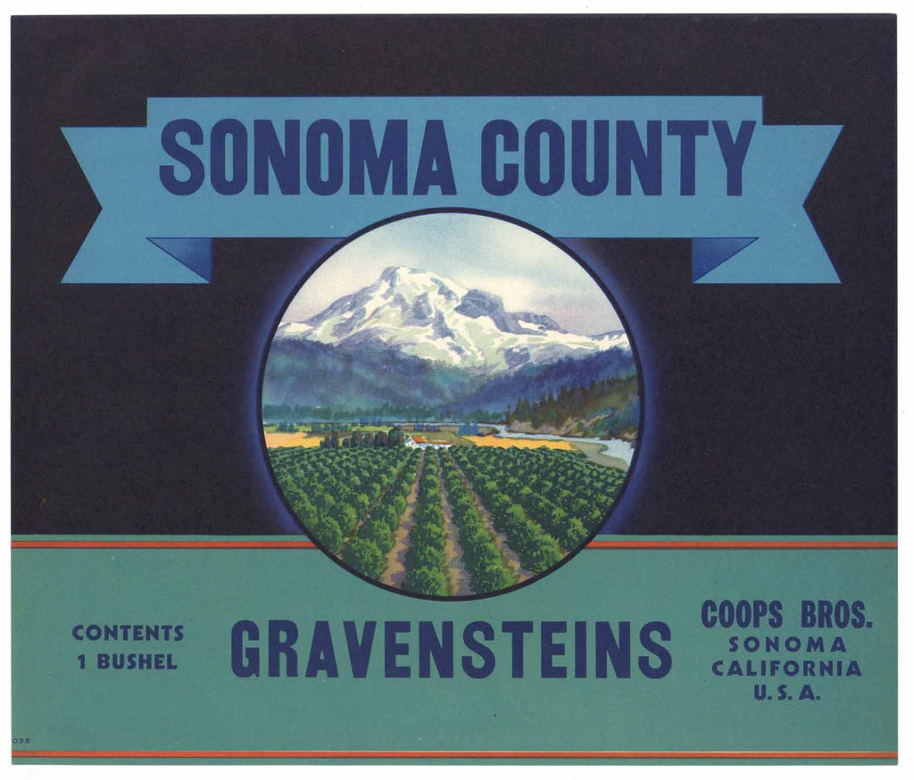 Sonoma County Brand Vintage Apple Crate Label