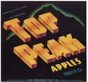 Top Peak Brand Vintage Redlands Apple Crate Label, b