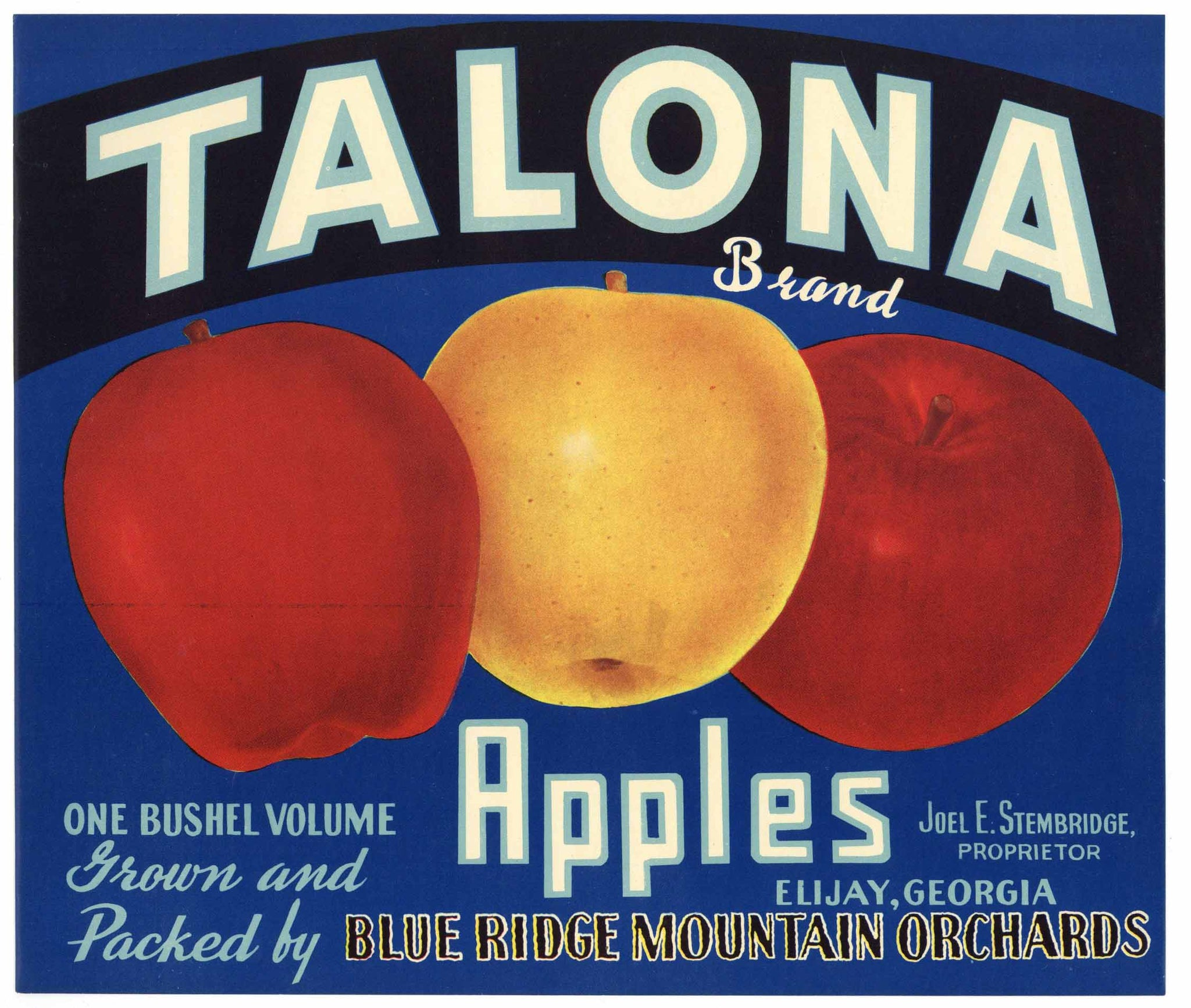 Talona Brand Vintage Elijay Georgia Apple Crate Label