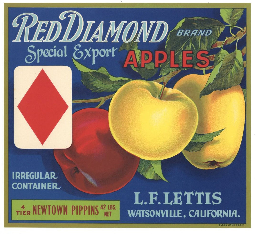 Red Diamond Brand Vintage Watsonville Apple Crate Label