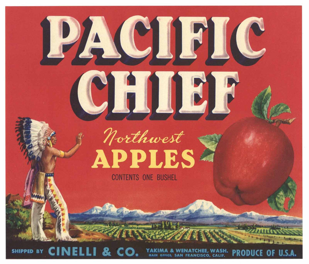 Pacific Chief Brand Vintage Washington Apple Crate Label