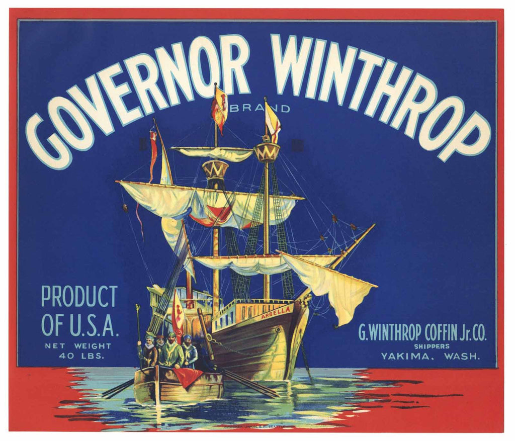 Governor Winthrop Brand Vintage Yakima Washington Apple Crate Label