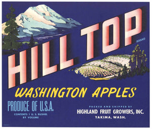 Hill Top Brand Vintage Yakima Washington Apple Crate Label