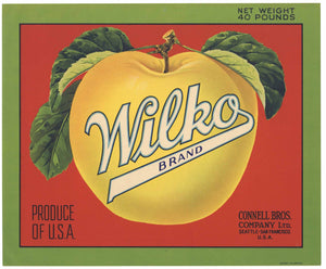 Wilko Brand Vintage Apple Crate Label, red, green