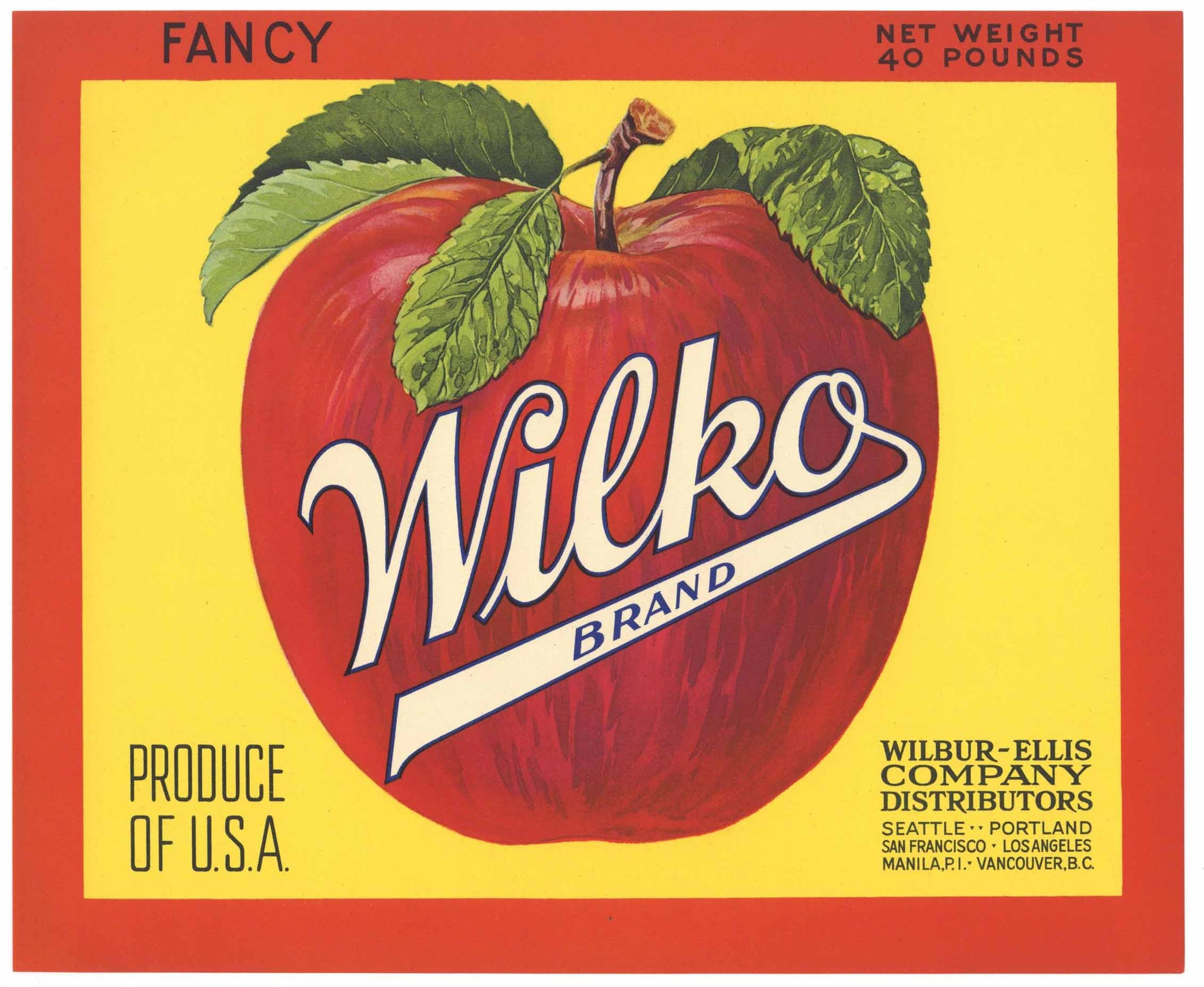Wilko Brand Vintage Apple Crate Label, red, yellow