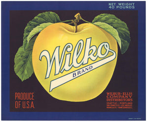 Wilko Brand Vintage Apple Crate Label, blue, black