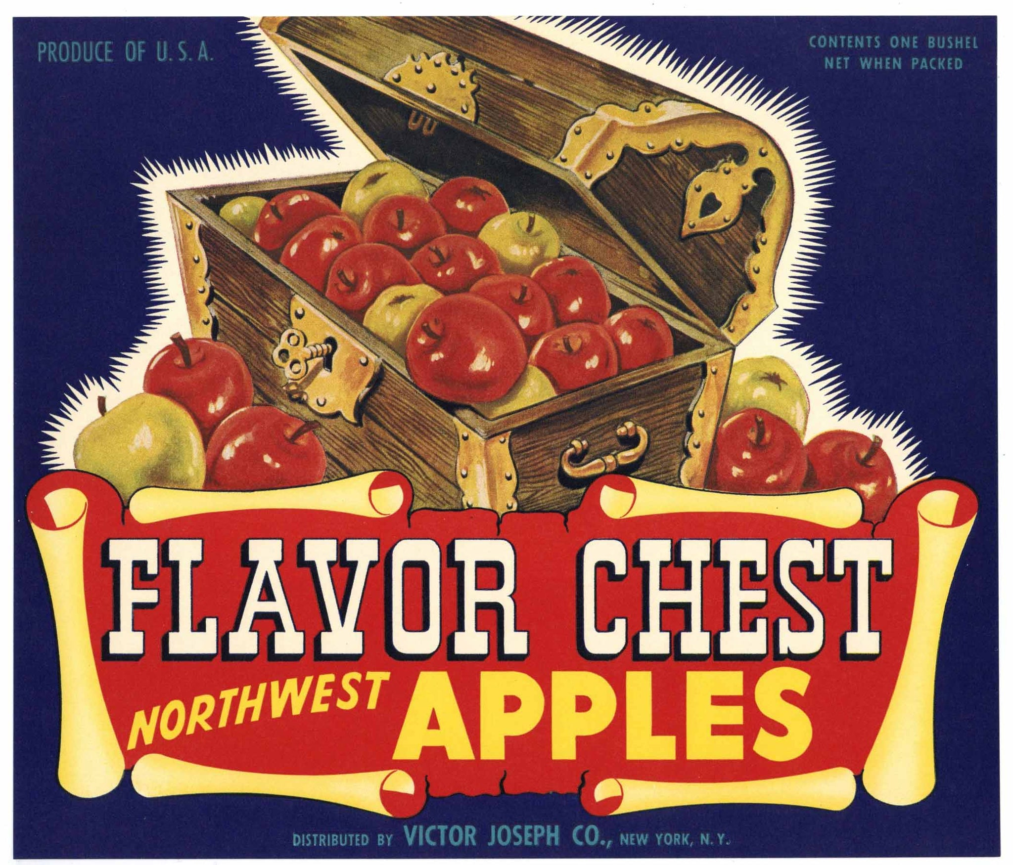 Flavor Chest Brand Vintage Northwest Apple Crate Label