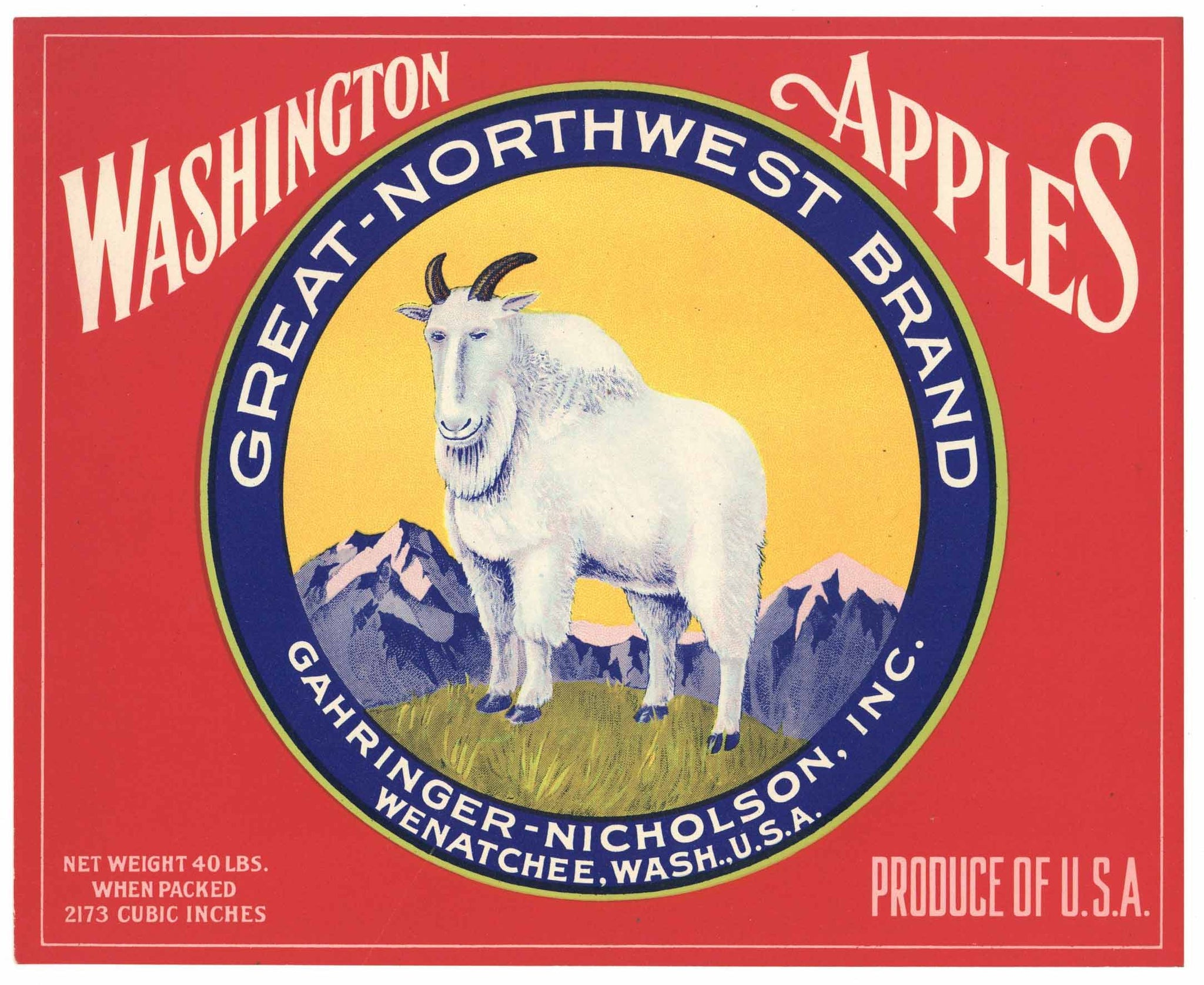 Great Northwest Brand Vintage Wenatchee Washington Apple Crate Label, red