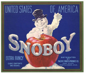 Snoboy Brand Vintage Pacific Fruit Apple Crate Label, o