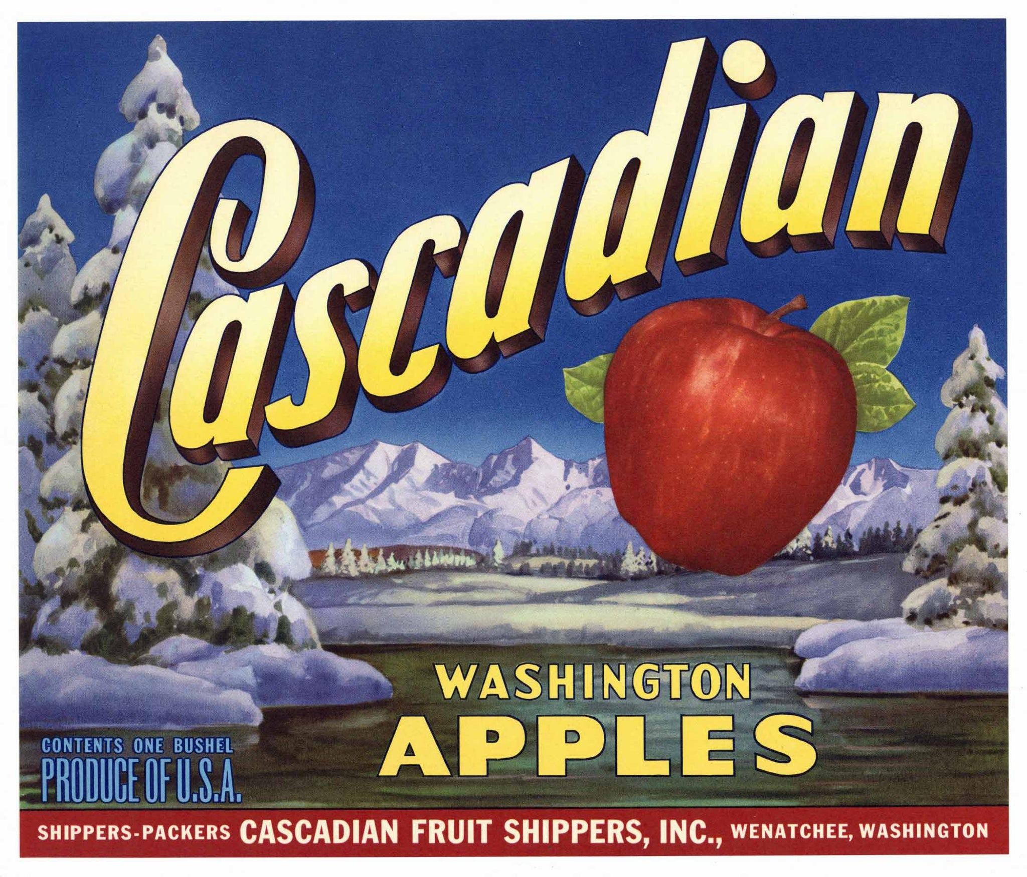 Cascadian Brand Vintage Wenatchee Washington Apple Crate Label