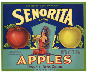 Senorita Brand Vintage Apple Crate Label