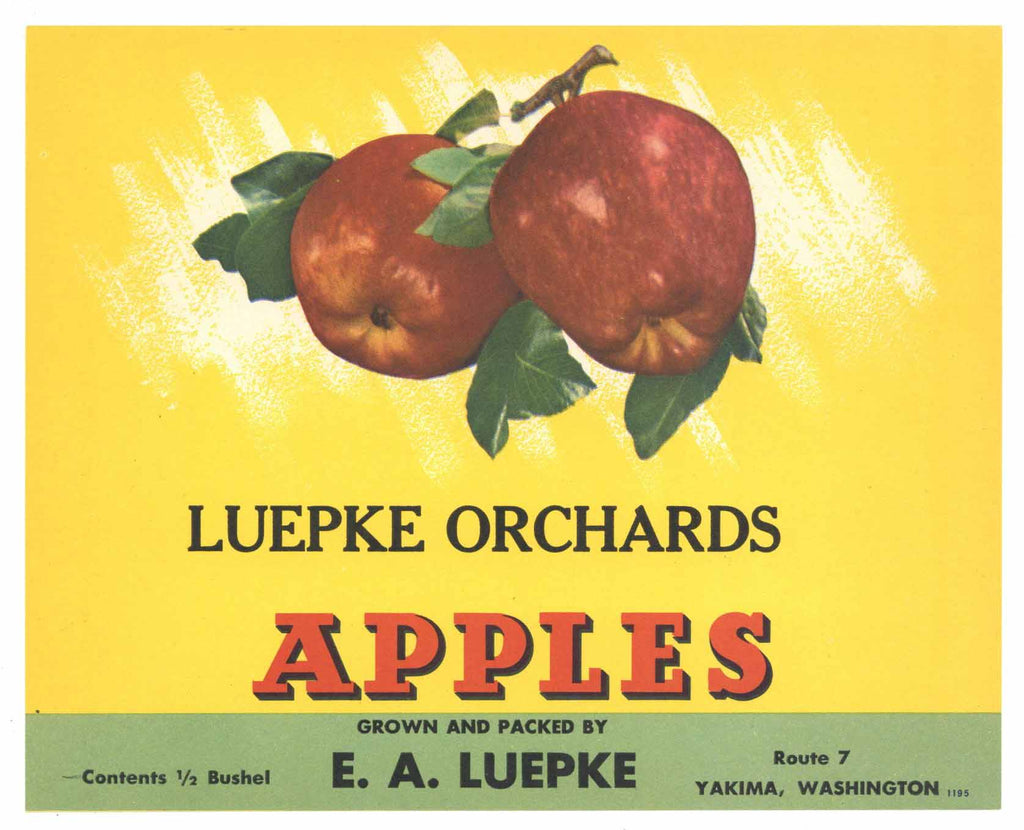 Luepke Orchards Brand Vintage Yakima Washington Apple Crate Label, gp