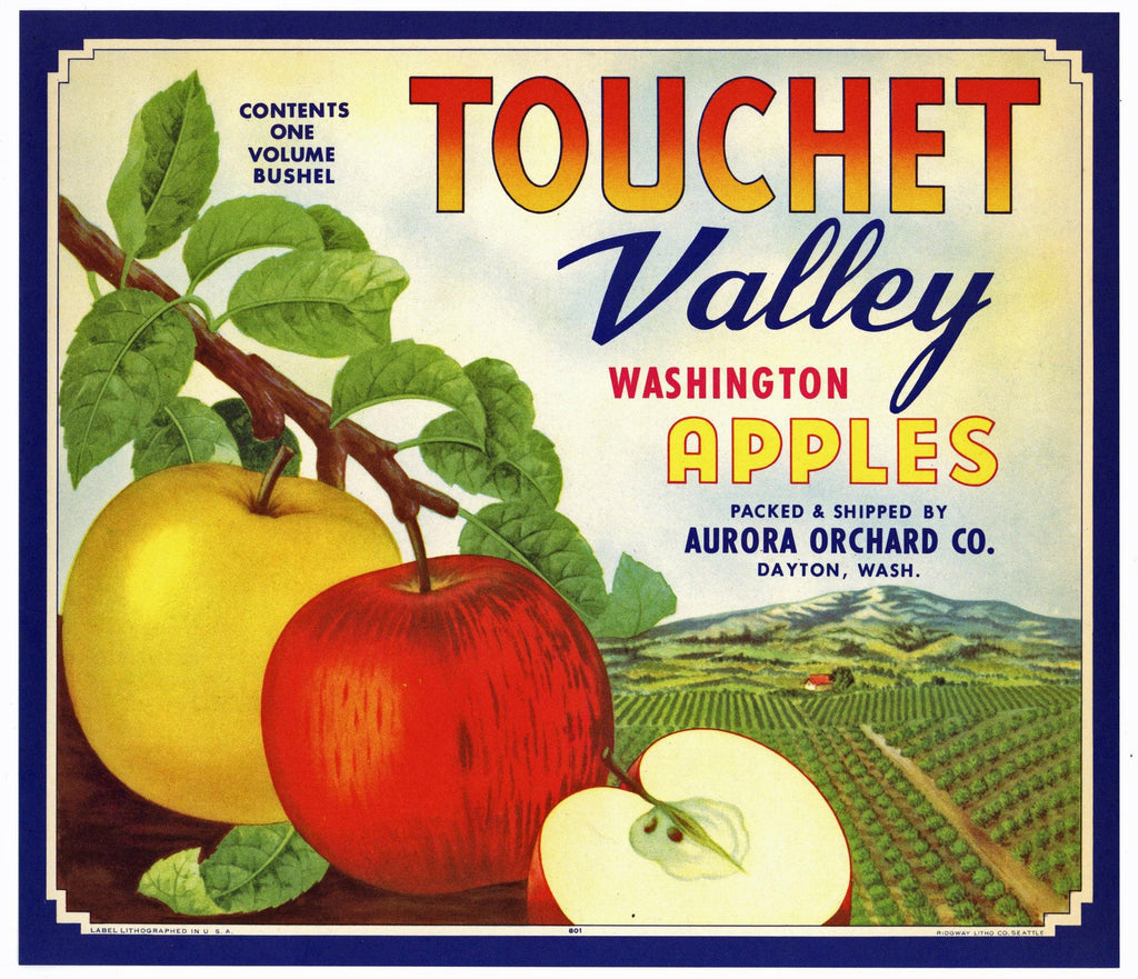 Touchet Valley Brand Vintage Dayton Washington Apple Crate Label