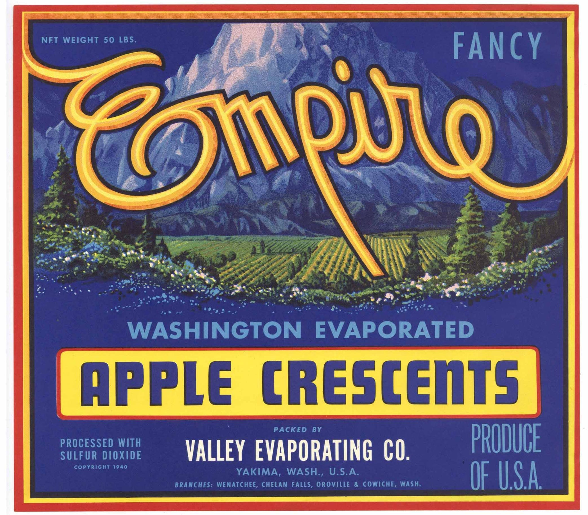 Empire Brand Vintage Washington Apple Crate Label, L