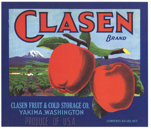 Clasen Brand Vintage Yakima Washington Apple Crate Label, b