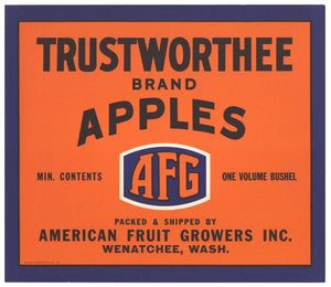 Trustworthee Brand Wenatchee Washington Apple Crate Label