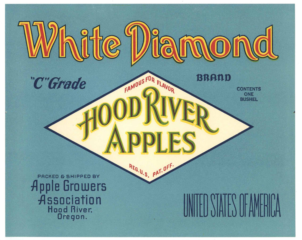 White Diamond Brand Vintage Hood River Oregon Apple Crate Label
