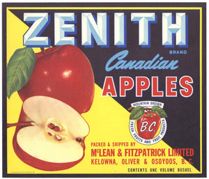 Zenith Brand Vintage British Columbia Canada Apple Crate Label