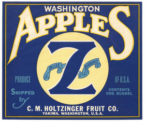 Blue Z Brand Vintage Yakima Washington Apple Crate Label