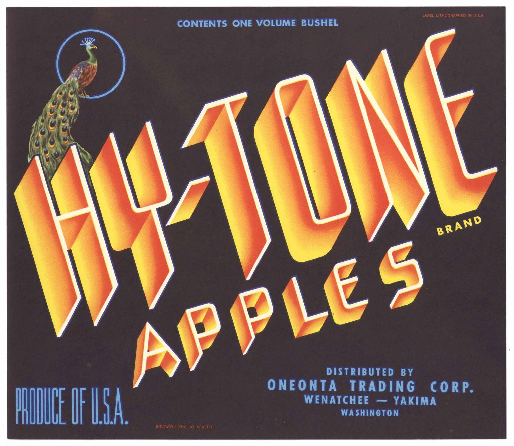 Hy Tone Brand Vintage Wenatchee Washington Apple Crate Label