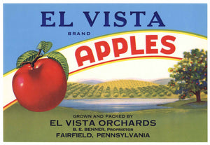 El Vista Brand Vintage Fairfield Pennsylvania Apple Crate Label