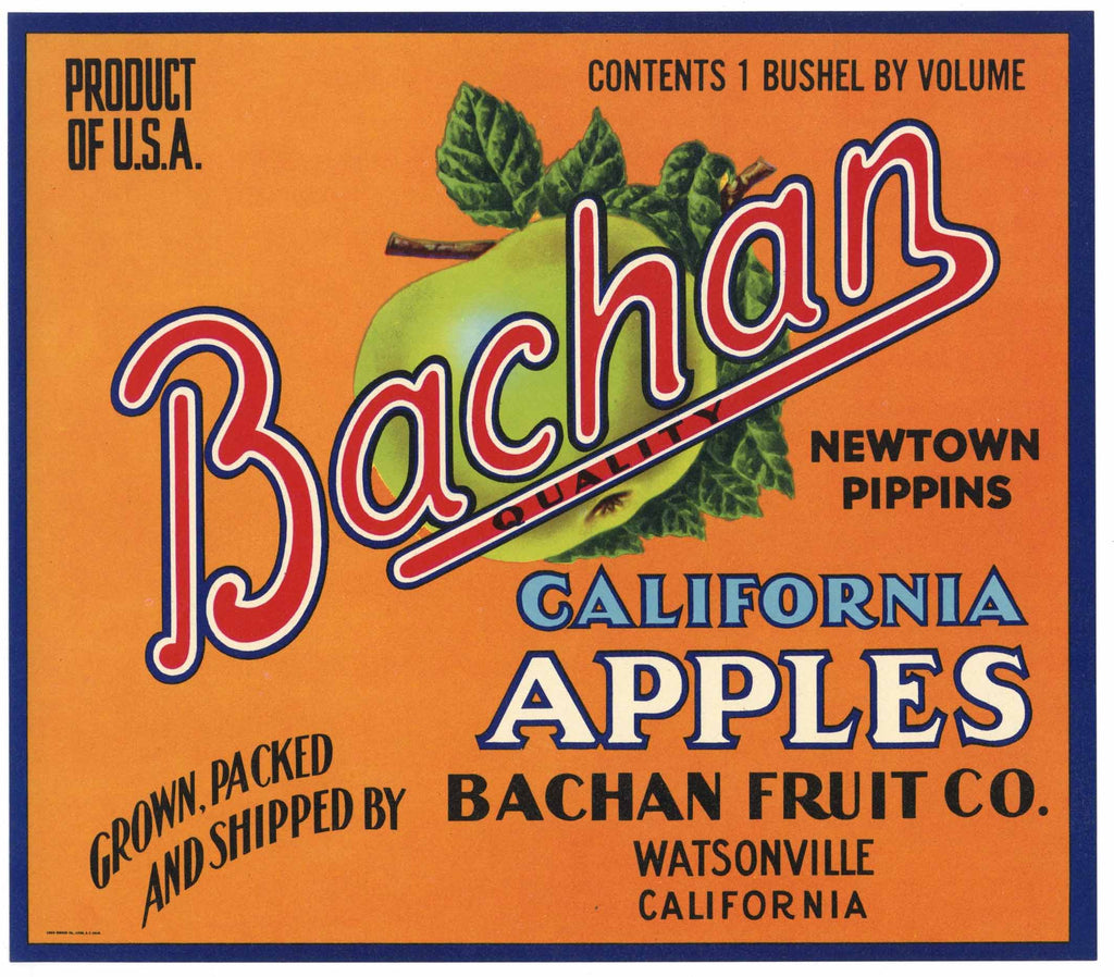 Bachan Brand Vintage Watsonville Apple Crate Label, n