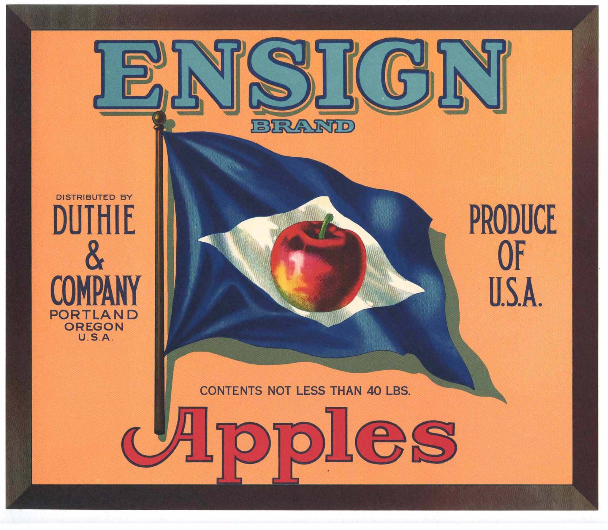 Ensign Brand Vintage Portland Oregon Apple Crate Label, blue flag