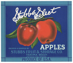 Stubbs Select Brand Vintage Yakima Washington Apple Crate Label