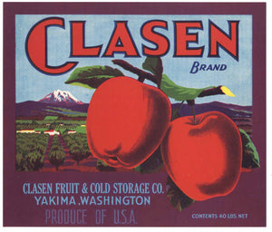 Clasen Brand Vintage Yakima Washington Apple Crate Label, p
