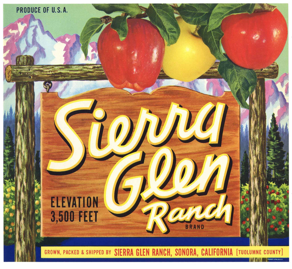 Sierra Glen Brand Vintage Sonora Apple Crate Label