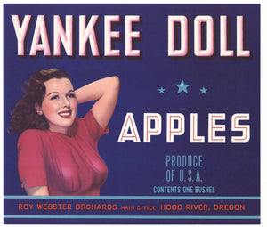 Yankee Doll Brand Vintage Hood River Oregon Apple Crate Label