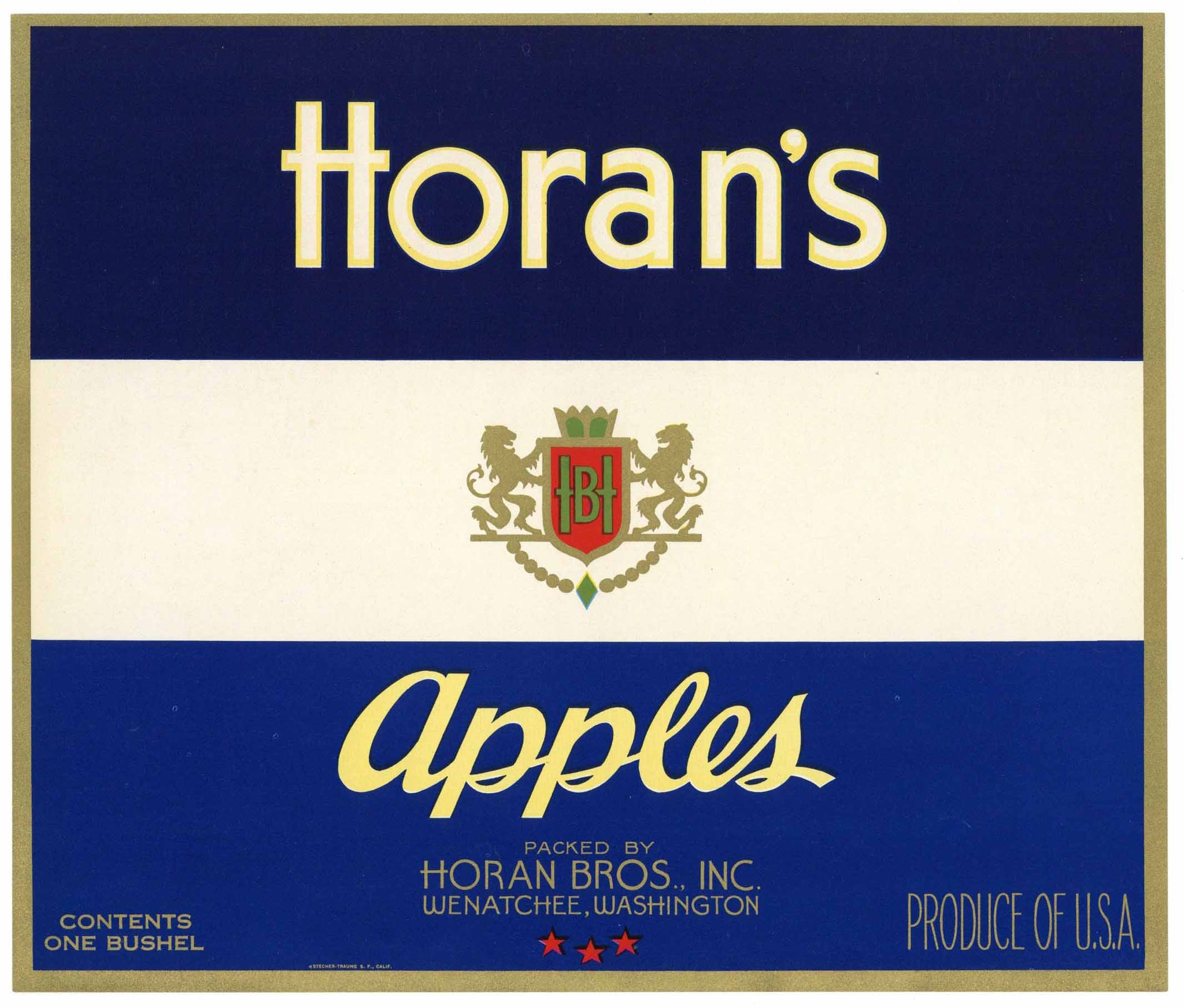Horan's Brand Vintage Wenatchee Washington Apple Crate Label, blue