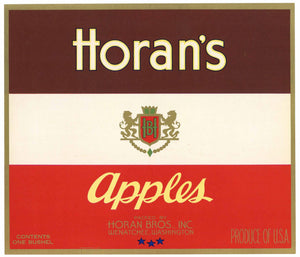 Horan's Brand Vintage Wenatchee Washington Apple Crate Label, red