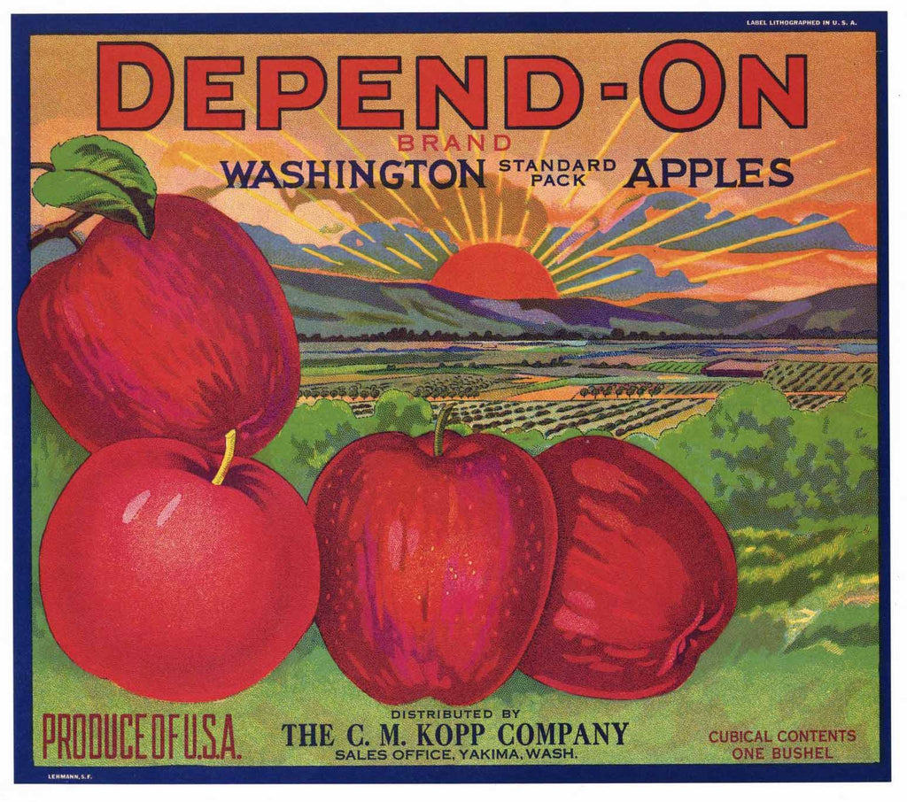 Depend-On Brand Vintage Yakima Washington Apple Crate Label, Kopp