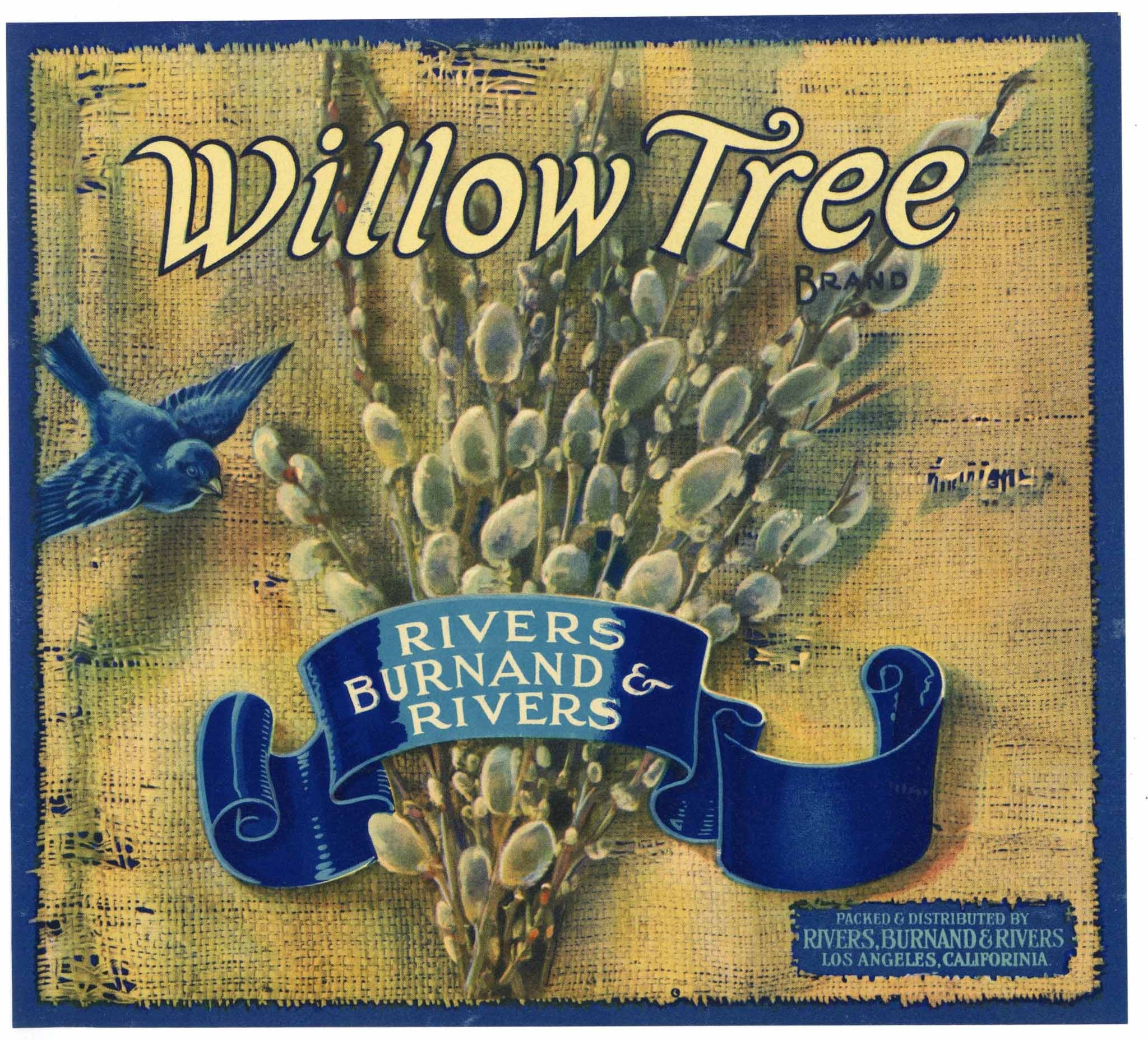Willow Tree Brand Vintage Apple Crate Label, blue