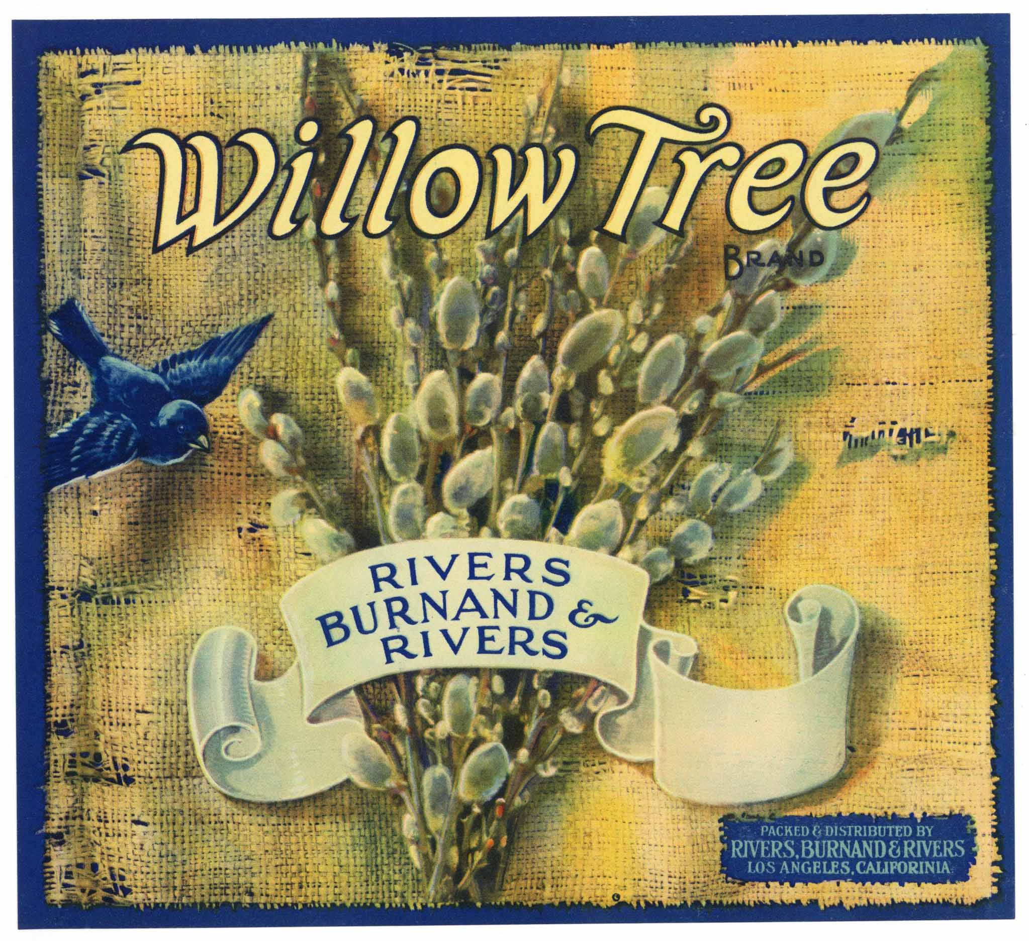 Willow Tree Brand Vintage Apple Crate Label, white