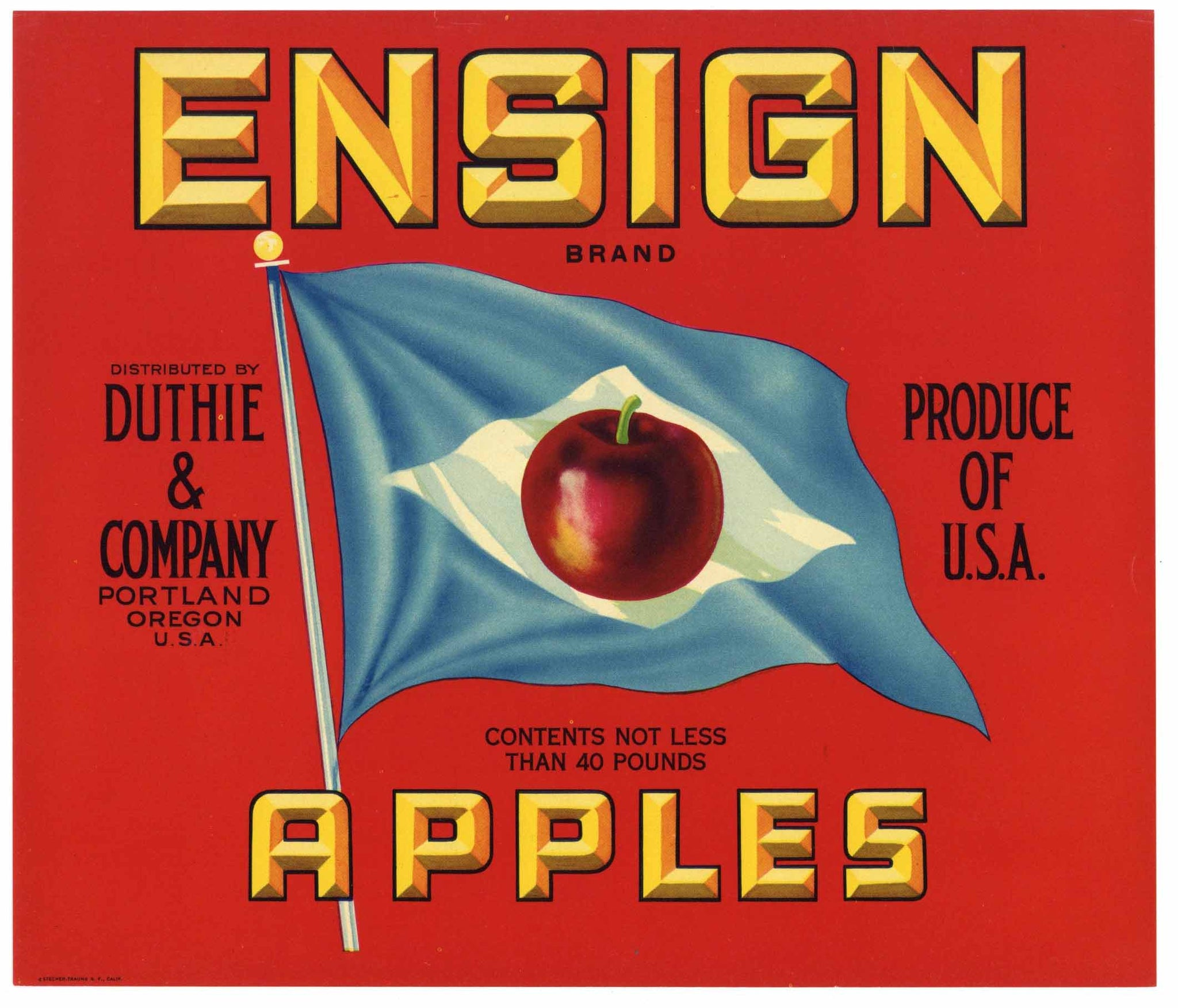 Ensign Brand Vintage Portland Oregon Apple Crate Label, red