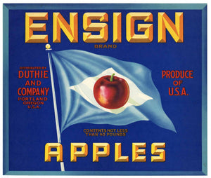 Ensign Brand Vintage Portland Oregon Apple Crate Label, blue