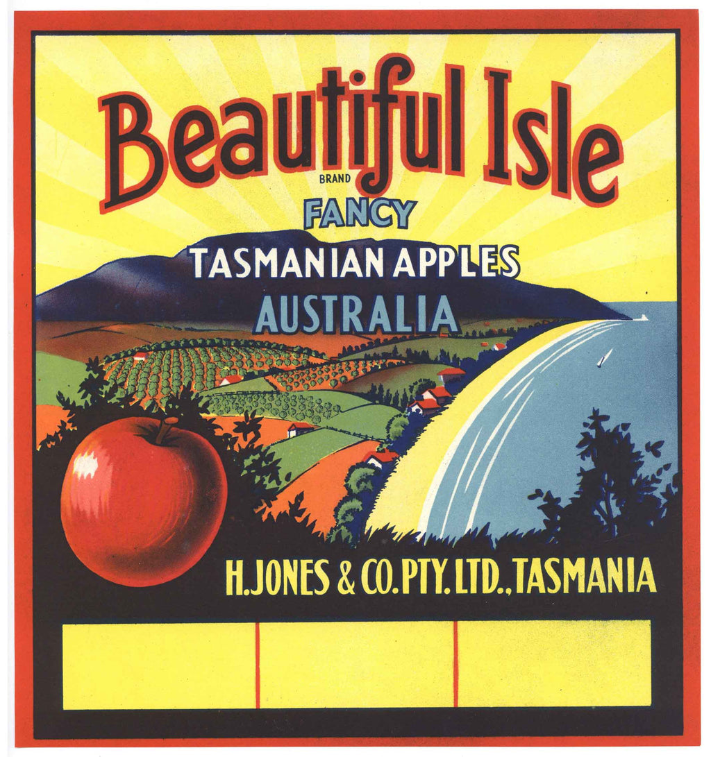 Beautiful Isle Brand Vintage Australian Apple Crate Label