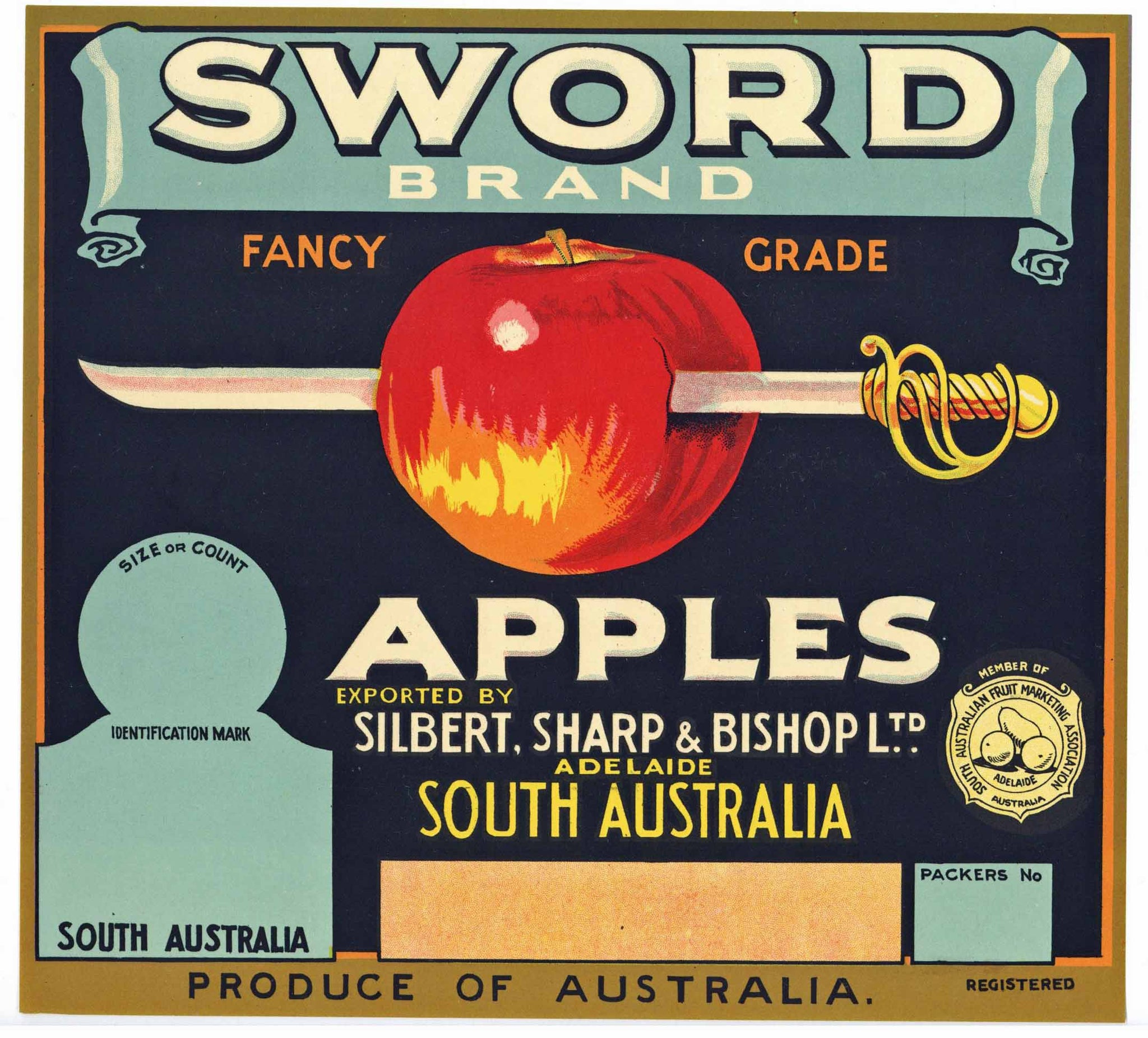 Sword Brand Adelaide South Australia Apple Crate Label