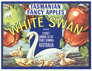 White Swan Brand Vintage Australian Apple Crate Label, b