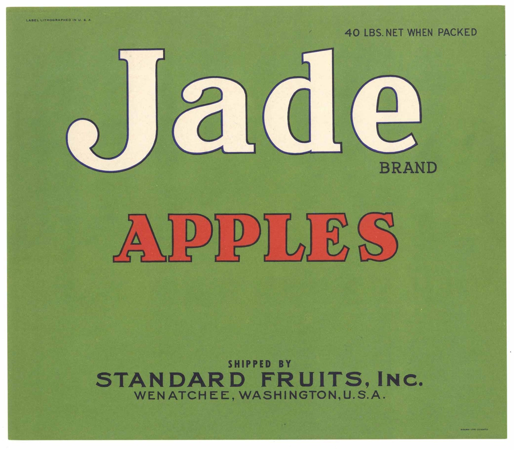 Jade Brand Vintage Wenatchee Washington Apple Crate Label