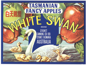 White Swan Brand Vintage Australian Apple Crate Label, r