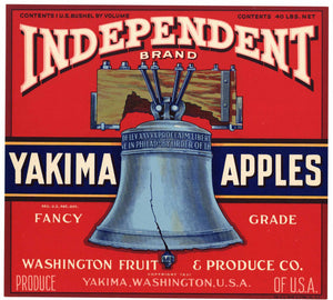 Independent Brand Vintage Washington Apple Crate Label, red