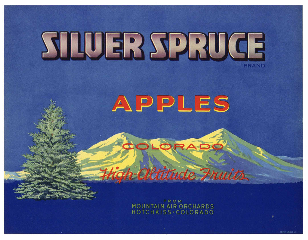 Silver Spruce Brand Vintage Hotchkiss Colorado Apple Crate Label