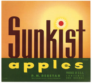 Sunkist Brand Vintage Watsonville Apple Crate Label, newer