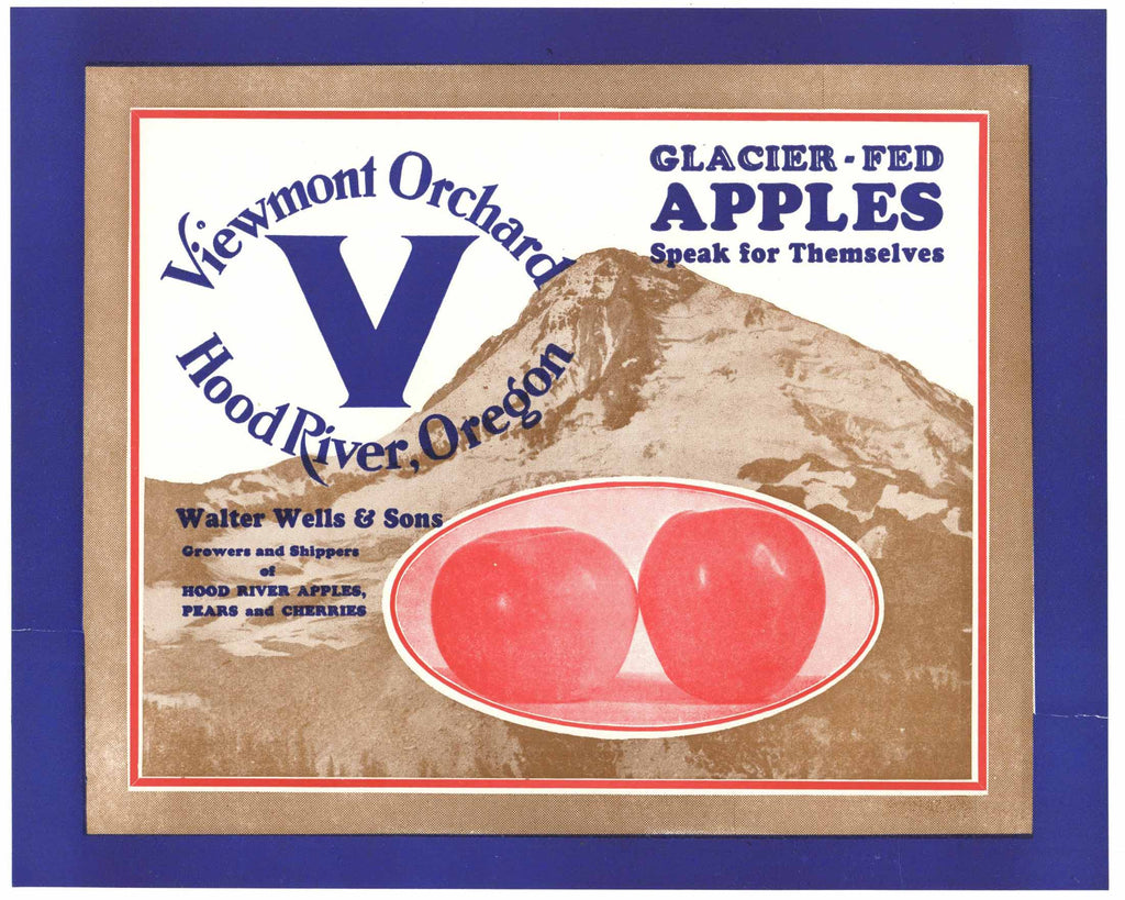 Viewmont V Orchard Brand Vintage Hood River Oregon Apple Crate Label