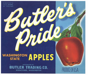 Butler's Pride Brand Vintage Wenatchee Washington Apple Crate Label