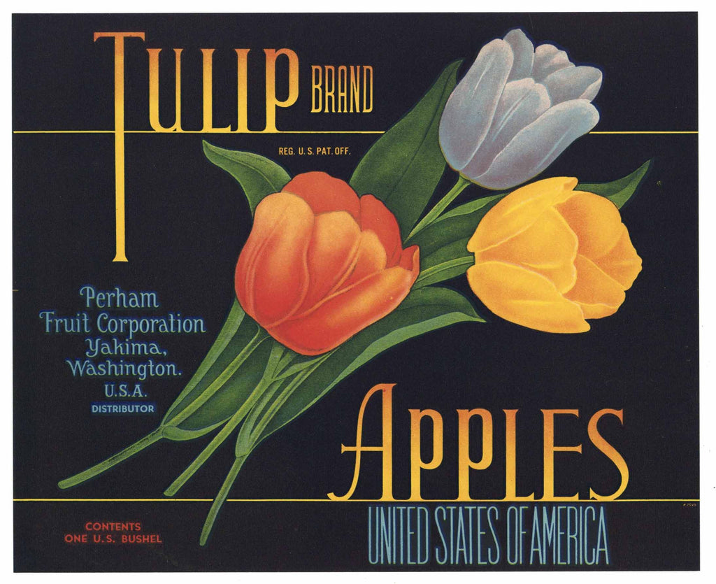 Tulip Brand Yakima Washington Apple Crate Label, old