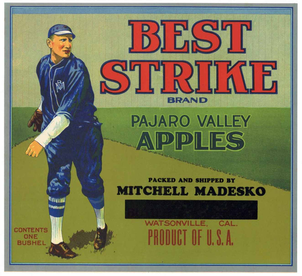 Best Strike Brand Vintage Watsonville Apple Crate Label